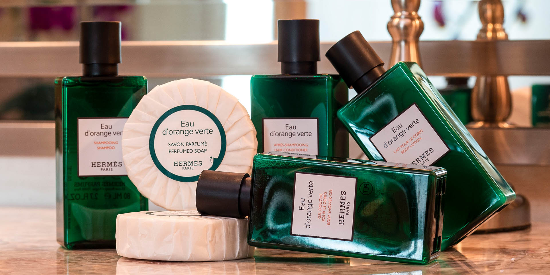 Luxury bathroom amenities from HERMES