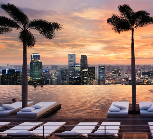 Marina Bay Sands SkyPark Infinity Pool at Sunset