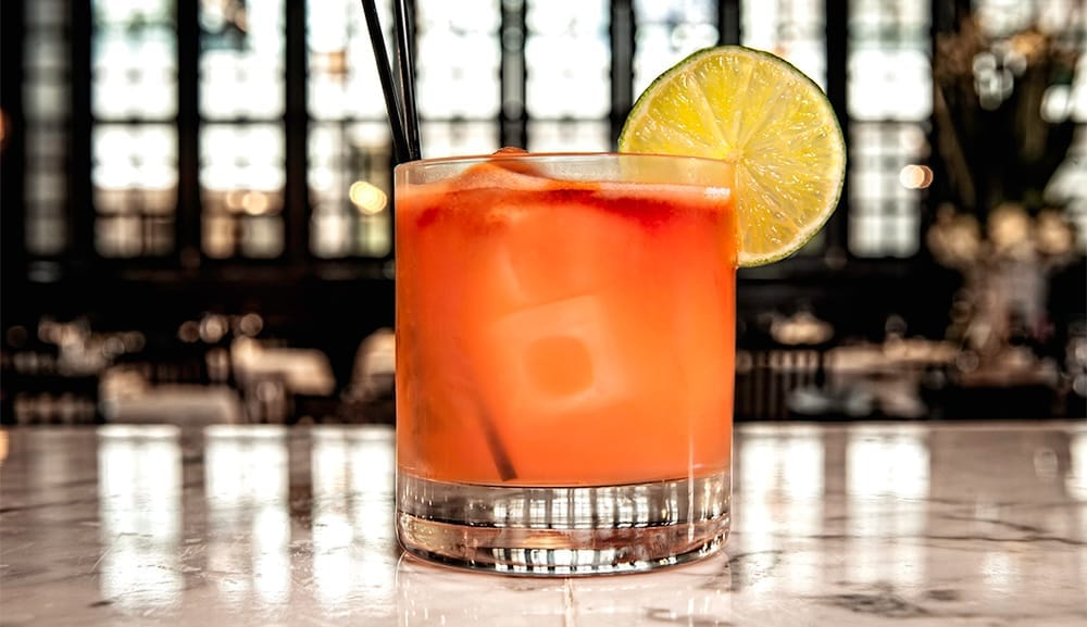 Sculaccione, concocted with Mezcal, campari, grapefruit, lime & bitters
