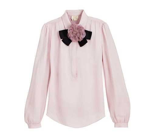 Front Row Fashion Week - Silk shirt with brooch from Kate Spade New York.